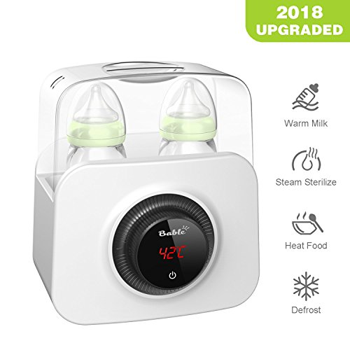 Bable Bottle Warmer, Bottle Steam Sterilizer 5 in 1 Multipurpose Baby Bottle Warmer with LCD-Display and Accurate Temperature Control