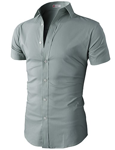 H2H Mens Fashion Designer Dress Shirts Men Stylish Short Sleeve Gray US S/Asia M (KMTSTS0132)