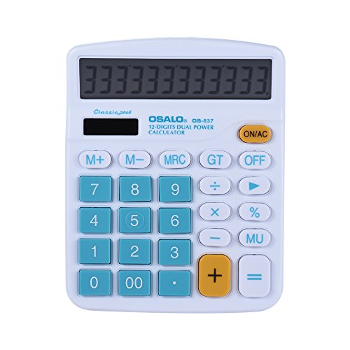 Aibecy Handheld Colorful Standard Function Desktop Electronic Calculator Solar and Battery Dual Powered 12 Digits Blue