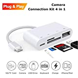 Weytech 4 in 1 SD TF Card Reader Compatible with iPhone iPad iPod,USB OTG Camera Connection Kit SD T-Flash Card Reader Work with Hubs Keyboards Audio/MIDI Interfaces Ethernet Adapter