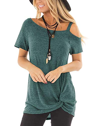 ZILIN Women's Cold Shoulder T-Shirt Short Sleeve Knot Twist Front Tunic Tops Green (Difference Between Relaxed Fit And Regular Fit Jeans)