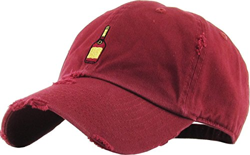 Mens Accessories Vintage Hats - KBSV-047 BUR Henny Bottle Vintage Distressed Dad Hat Baseball Cap Polo Style Adjustable