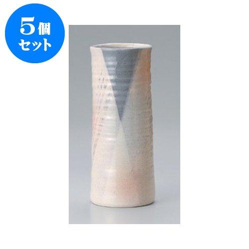 5個セット 美濃焼花瓶 白灰30cm円筒花瓶 [12 x 30cm] インテリア B01M5JCFDL  5個セット