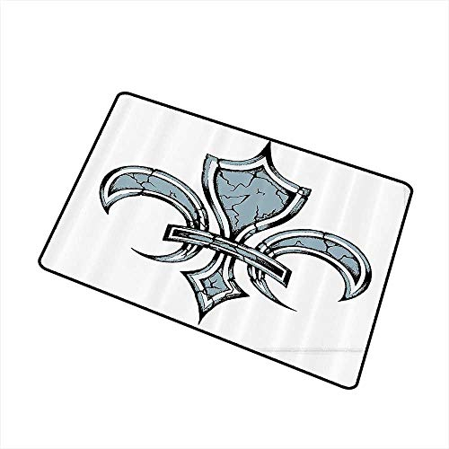 Axbkl Stylish Commercial Grade Entry pad Fleur De Lis Grungy Lily Retro Renaissance Spirit Element Victory Vintage Art Print W20 xL31 Indoor Outdoor, Waterproof, Easy Clean Blue White Black (Sassy Lily Pad)