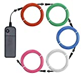 Zitrades El Wire, Portable Neon Lights 5x1m/3ft Multi Color Male to Female Electroluminescent Wire with Portable Inverter for Parties Home Decoration