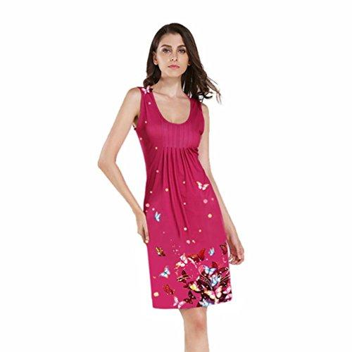 TAOtTAO Mode Frauen Kleid ärmellos O Hals Buterfly Gedruckt Abend ...
