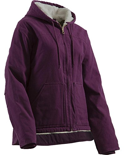 Cotton Women Coat (Berne Women's Washed Sherpa-Lined Hooded Coat Plum Large)