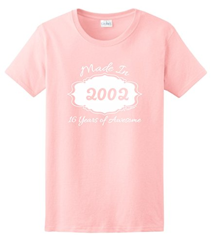 Sweet Sixteen Birthday Party Supplies 16th Birthday Gifts Made 2002 16 Years of Awesome Ladies T-Shirt Small Light (Awesome Womens Light T-shirt)
