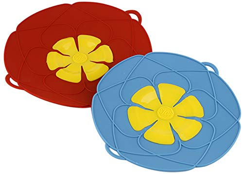Mirenlife 2 Pack Spill Stopper Lid Cover, 11.4 Inch and 10.2 Inch, Silicone Spill Stopper Pot Pan Lid, Anti Spill Lid Cover, Multi-Function Kitchen Tool (Red and Blue)