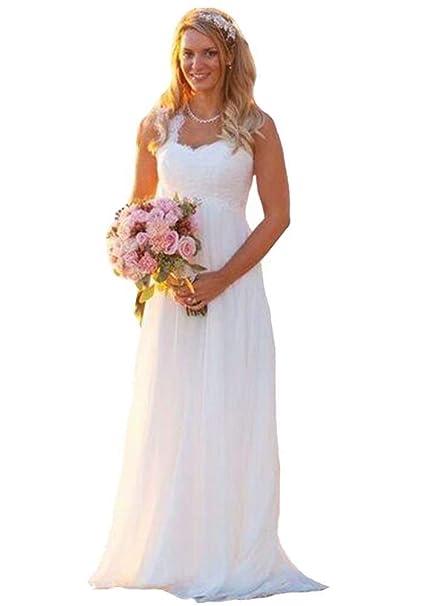 edee38fee4588 Firose Women's Long Lace Wedding Dresses V Neck Sleeveless Beach Bridal  Evening Gowns