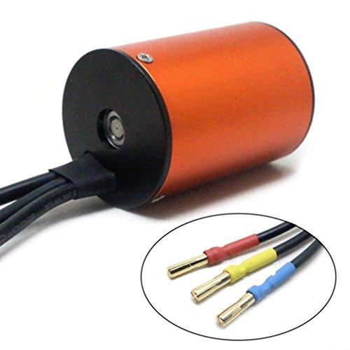 Alluing 3650 4300KV Length 50mm Sensorless Brushless Motor for 1/10 RC Car (orange) by Alluing (Image #2)