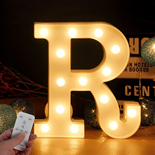 WHATOOK Large Light Up Letters LED Marquee Sign Letter Lights with Remote Control 26 Alphabet Letters Lamp with Boxes Perfect Wall Decor for Wedding Party Home Bar(Letter-R) (Wall Led Lights Decor With)
