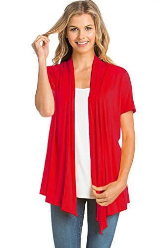 12 Ami Basic Solid Short Sleeve Open Front Cardigan Red Large
