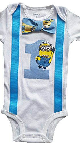Baby Boys 1st Birthday Outfit - Minions Bodysuit, Blue-white-yellow, 12M-Short Sleeve (Kids Minion Suit)