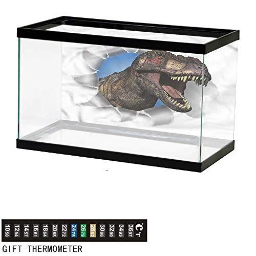 bybyhome Fish Tank Backdrop Jurassic,T-Rex Through Paper Wall,Aquarium Background,36