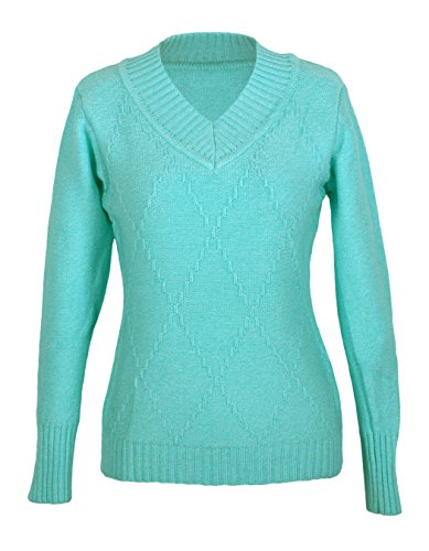 G2 Chic Womens Ribbed Diamond Knit V - Neck Sweater(TOP - SWT,LBL - SMALL),Aqua