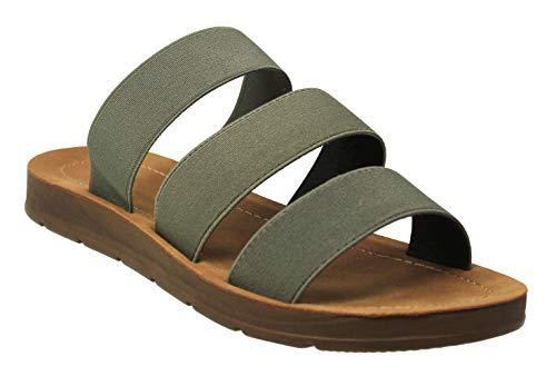 Triple Strap - MVE Shoes Women's Summer Triple Strap Cushioned Flip Flops, Hoping Olive 7
