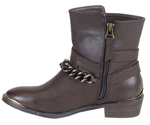 40 goldener Waldhay Stiefeletten Leder Zierde Boots 36 Cowboy Herbst 38 39 Braun mit 41 Kette Look 37 Winter stylische Damen Schuhe q1xqw4T