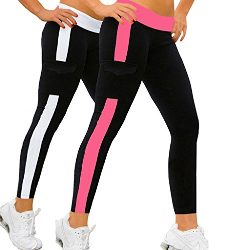 iLoveSIA 2Pack Women's Running Pants Cropped Tights Ankle Leggings Rose+White XL