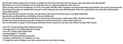 Yellow Jade Potara Earrings – Dragon Ball Z Anime Cosplay Costume Accessories by TamaShop