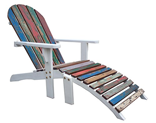 CHIC TEAK Adirondack Chair with Footstool Made from Recycled Boats
