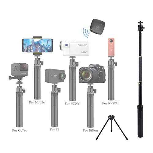 """Bluetooth Action Mobile (RCGEEK Bluetooth Camera Selfie Stick Tripod with Carabina Portable Aluminum Alloy Grip Telescopic 26.8"""" with Bluetooth Remote Compatible with 4-5.5"""