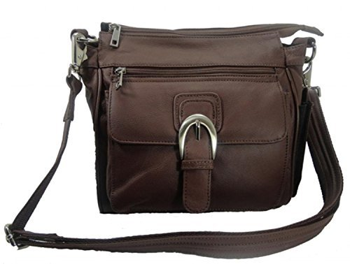 Leather Concealed Carry Cross Body Gun Purse Left or Right Hand W/Holster-Brown