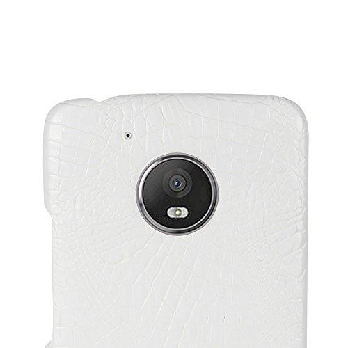 Funda Moto G5, SunFay Funda Posterior Protector de PC Carcasa Back Cover de Parachoques Piel PU Protectora de Teléfono Para Mototrola Moto G5 - Naranje Blanco