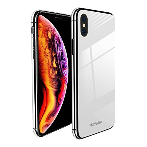 White Back Case - for iPhone X/ iPhone Xs Metal Bumper + 9H Tempered Glass Hard Back (White) Slim Fit Case (Without Shell Feeling) Same Look, Joyroom Xs/X Excellent Anti-Scratch (Nontransparent) Glass 5.8 Cover Case