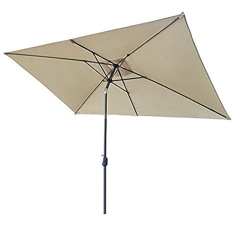 SNAIL 6.6u0027 X 10u0027 Outdoor Rectangular Tilting Patio Umbrella, UV Protection  Market Umbrella