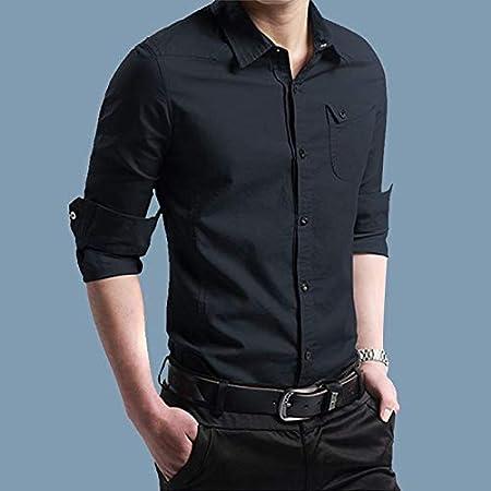 RSL Masculina Camisa de Manga Larga Coreana Delgada Camisa de algodón Ocasional y el algodón Terciopelo Joven Desgaste Externo Salvaje Tierra Suelta (Color : Blue, Size : XL): Amazon.es: Hogar