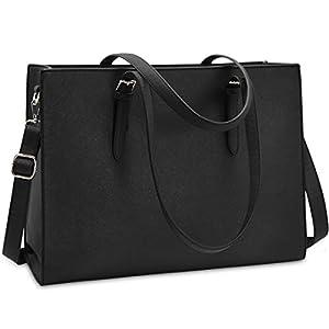 Laptop Bags for Women 15.6 inch Large Leather Tote Bag Ladies Laptop Handbag Computer School Shoulder Bag Lightweight Business Work Bag Black