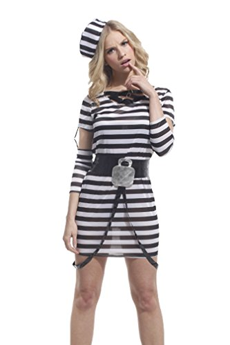 Spooktacular Women's Striped Jailbird Inmate Costume with Dress & Accessories, M -