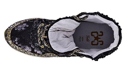Gold 2Star Shoes Women's Black White, Beaded Sneaker 36