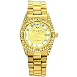 Izax Valentino watch analog display date display day of the week Gold IVG-1000-1 Men's