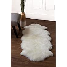 Super Area Rugs Genuine Australian Sheepskin Rug Two Pelt Ivory Natural Fur, Double Approximately 2 Feet X 6 Feet