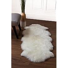 Elegant Genuine Australian Sheepskin Rug Two Pelt Ivory Fur, Double. By Super Area  Rugs