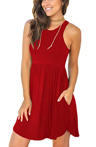 LONGYUAN Women's Summer Casual Clothes Round Neck Beach Dresses X-Small, Red