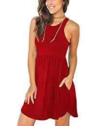 Women's Summer Casual T Shirt Dresses Swimsuit Cover Ups with Pockets