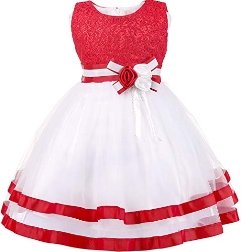 Baby Girl Dresses Red Birthday Wedding Party Little Flower Girl Pageant Princess Dress