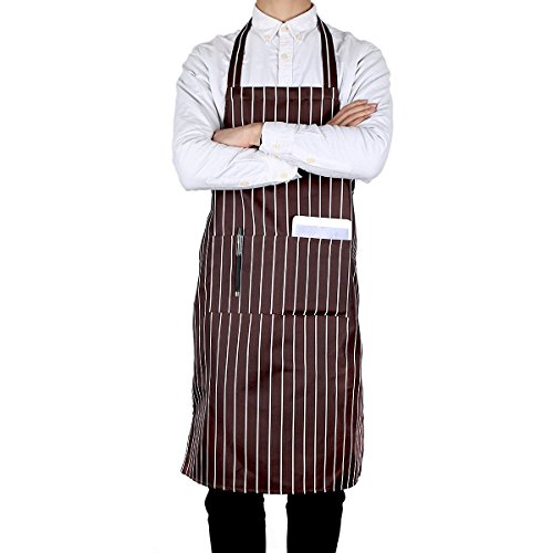 Bib Apron with Pockets - Premium Quality Unisex - Brown/White Pinstripe Apron - Easy to Wear - Designs by Flying - Stripe White Apron