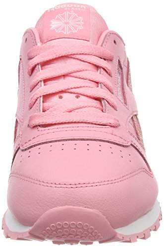 Reebok Running Pink Shoes Spring white CL Leather Girls' 6xAwrH61