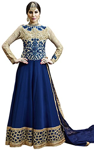 Sequined Border - Exotic India Cream and Blue Designer Anarkali Suit with Zari-Embroidered Roses and Sequined Wide Border Size Medium