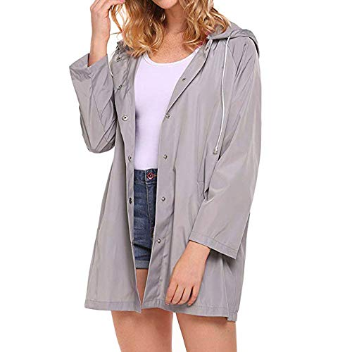 Grey Down MERICAL Outdoor Jacket Active Lightweight Raincoat Pockets Womens Drawstring Button Hoodies Waterproof 0UU4wBq7a