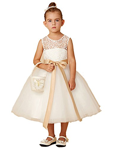 Lace Flower Girl Dress for Wedding Bridesmaid Party Tulle Dresses A-line Sleeveless Bow Ivory by fairy Girl