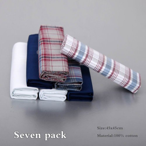 Discount Gift Idea 7 Pack Hankies Mens Cotton With Presentation Box MH1029 One Size Blue by Y&G (Image #2)