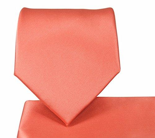 Oliver George Solid Necktie Set (Coral) #1010-A ()