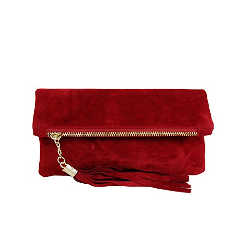 JNB Women's Microsuede Foldover Mini Pouch (Red)