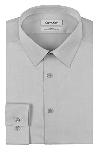 Calvin Klein Men's Slim Fit Non-Iron Herringbone Point Collar Dress Shirt, Smoke, 16.5'' Neck 32''-33'' Sleeve by Calvin Klein
