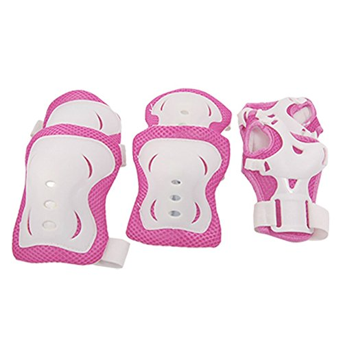 ZYN Kid's Knee Pads Wrist Roller Elbow pads Skate Guards for Skating Set of 6 Rose Red Liner and White Shell (Christmas Falls Hoverboard)